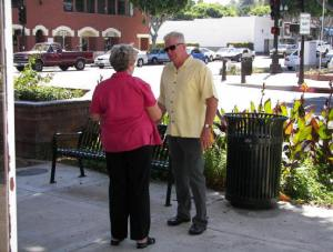 Huell Howser with Old Town resident, Linda Jennings
